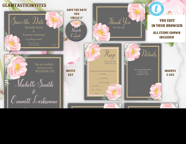Pink Navy Grey Gold Peony Wedding Invitation Template, Grey and Gold Wedding Invitation Template, Editable, Wedding invitation Suite, Formal