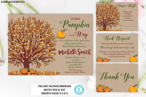 Pumpkin Kraft Fall Rustic Baby Shower Invitation Set Package Template Editable Printable Instant Download Books for Baby Diaper Raffle Card