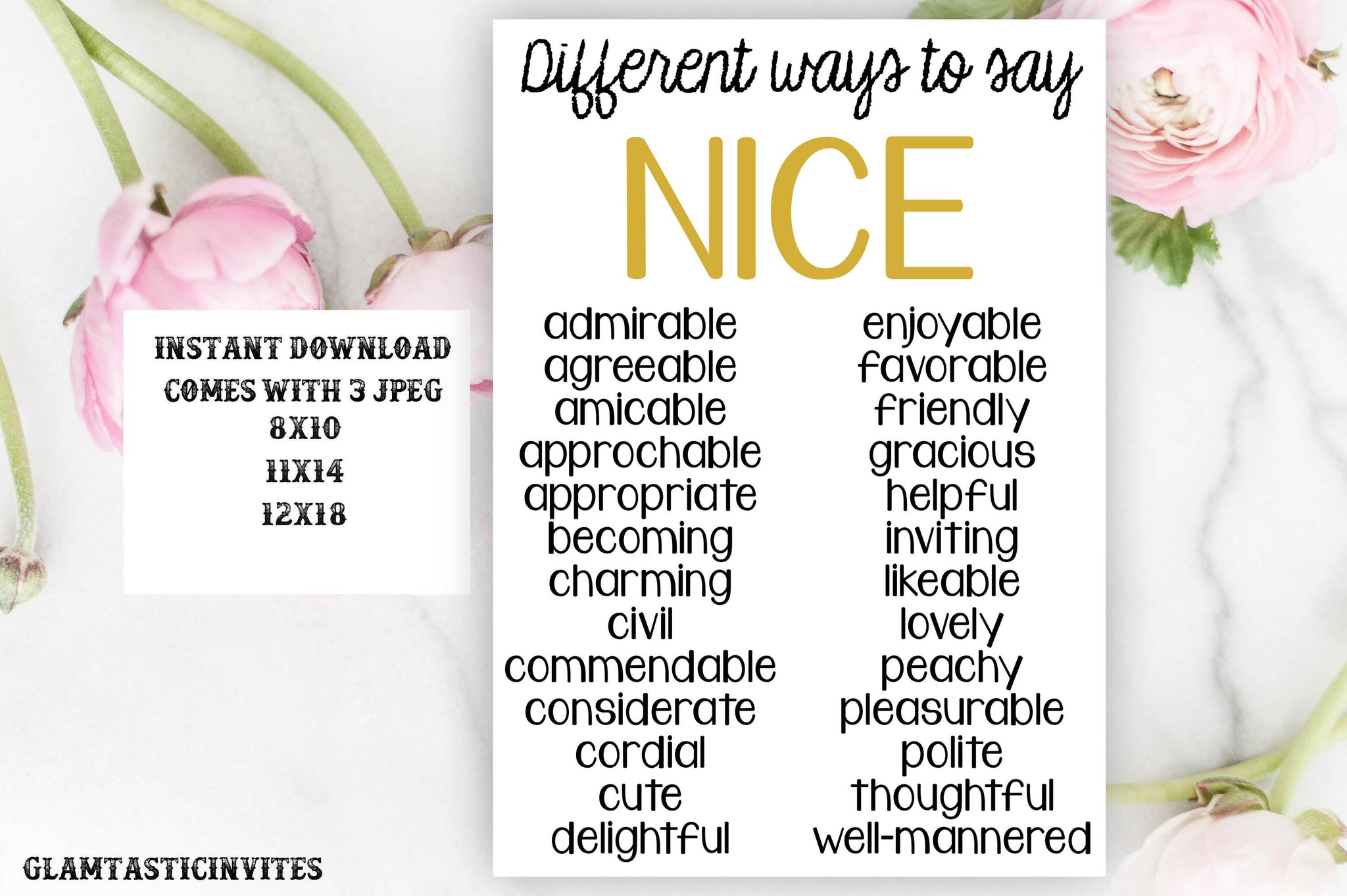 Classroom Decor, Teacher Decor, Different Ways to Say Nice, Teacher Gift, Educational Decor, Classroom Decoration, English Class Poster Sign
