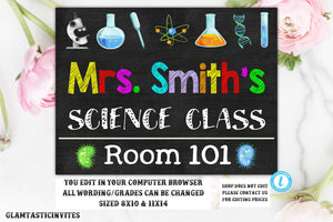 Science Teacher Classroom Sign Template Instant Download Editable Printable Chalkboard YOU EDIT, Classroom Teacher Door Sign, Teacher Decor
