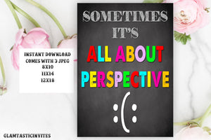 Sometimes its All About Perspective, Guidance Counselor Sign, Social Worker Sign, Classroom Decor, School Counselor Poster, Inspirational