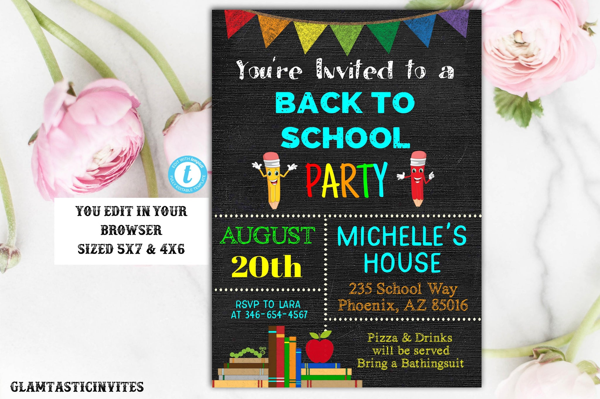 Back to School Party Invitation Template Editable Printable Instant Download Chalkboard End of Summer Bash Pool Party YOU EDIT Pencil DIY