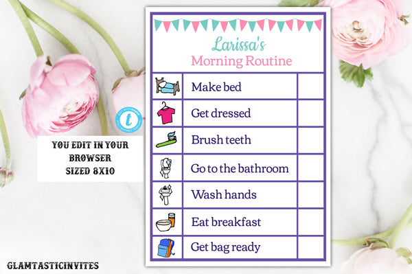 Girl Printable Editable Chore Chart Instant Download Daily Activities List, Girl Chore Chart, Template, Chore Chart Template, Daily Schedule