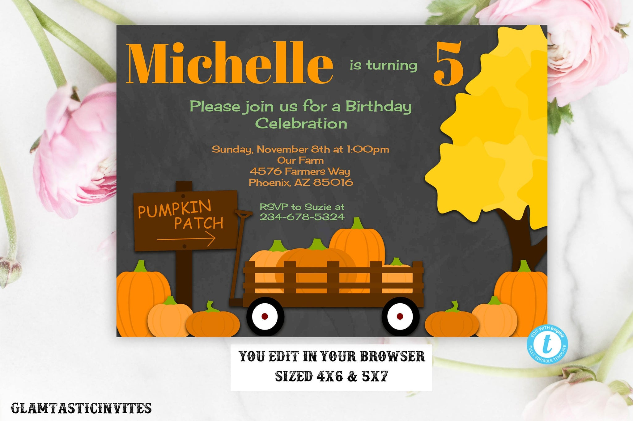 Fall Pumpkin Patch Birthday Invitation Template Chalkboard Editable Printable Instant Download Leaves Fall, Pumpkin Birthday Invitation, DIY