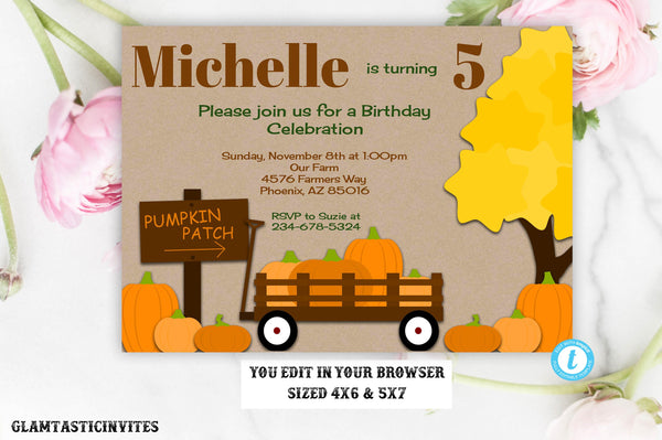 Fall Pumpkin Patch Birthday Invitation Template Chalkboard Editable Printable Instant Download Leaves Fall Pumpkin Birthday DIY Invitation