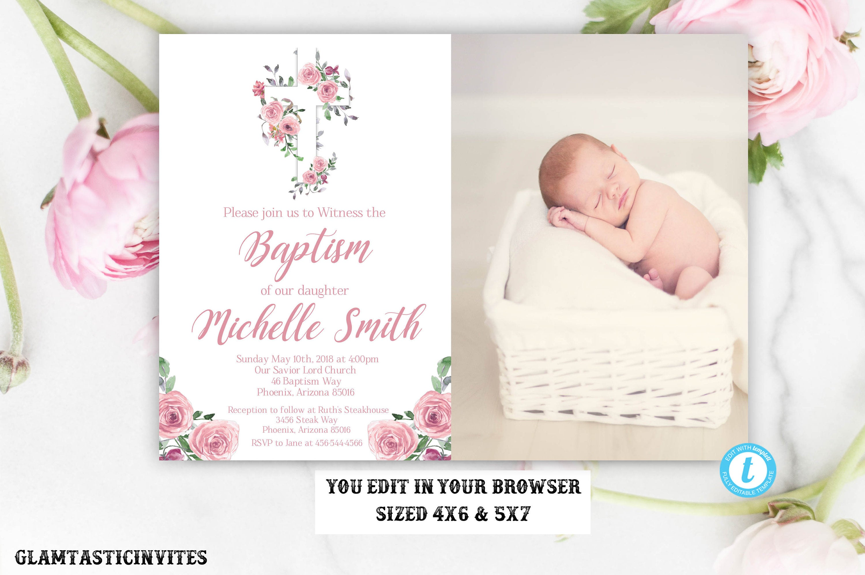 Girl Baptism Invitation, Floral Baptism Invitation Template, Baptism Invitation Template, Printable Baptism Invitation, Baptism Invitation