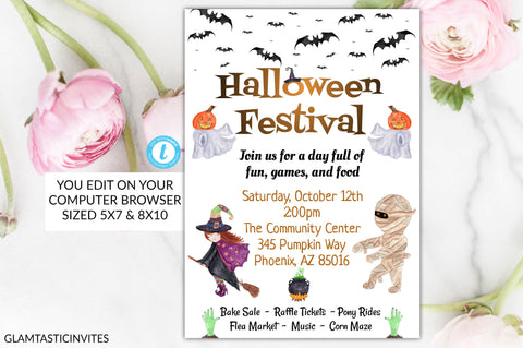 Halloween Festival Flyer Template Invitation Editable Printable Ghost Bats Corn Maze Musical Event Fall Witches Church Festival Bake Sale