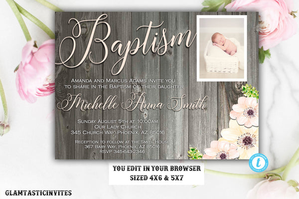 Rustic Girl Baptism Invitation Template Editable Printable Floral Country Vintage Instant Download First Communion Dedication Christening
