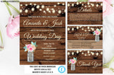 Rustic Wedding Invitation Printable, Country Wedding Invitation, Digital file, Printable, wedding invitation suite, Instant Download, Rustic
