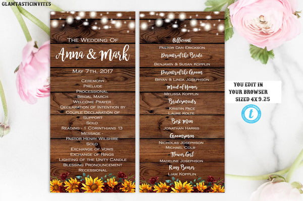 Rustic Wedding Ceremony Program Template Sunflower Editable Printable Country Vintage, Ceremony Program, Wedding Program, Fall, Sunflower