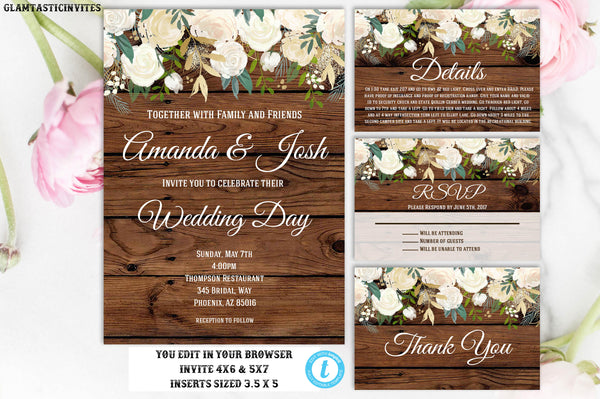 Rustic White Rose Floral Wedding Invitation Set Template Package Editable Printable Country Vintage Instant Download Flower, Wedding, Rustic