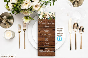 Rustic Boho White Rose Floral Menu Card Template Wedding Bridal Shower Baby Shower Editable Printable Instant Download Country Vintage DIY