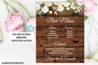 Rustic Boho White Rose Floral Bar Menu Sign Template Editable Printable Instant Download Country Vintage  Flower Party Wedding, Bar Menu