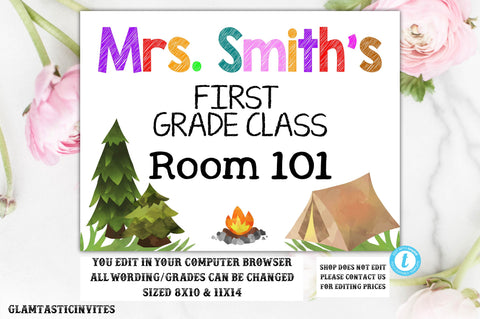 Teacher Classroom Door Welcome Sign Template Camping Outdoors Instant Download Editable Printable Chalkboard Office Poster, Classroom Sign