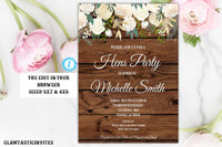 Rustic Floral White Rose Hens Party Invitation Template Editable Printable Vintage Country Gold Bachelorette Party Boho Floral, Hens Party