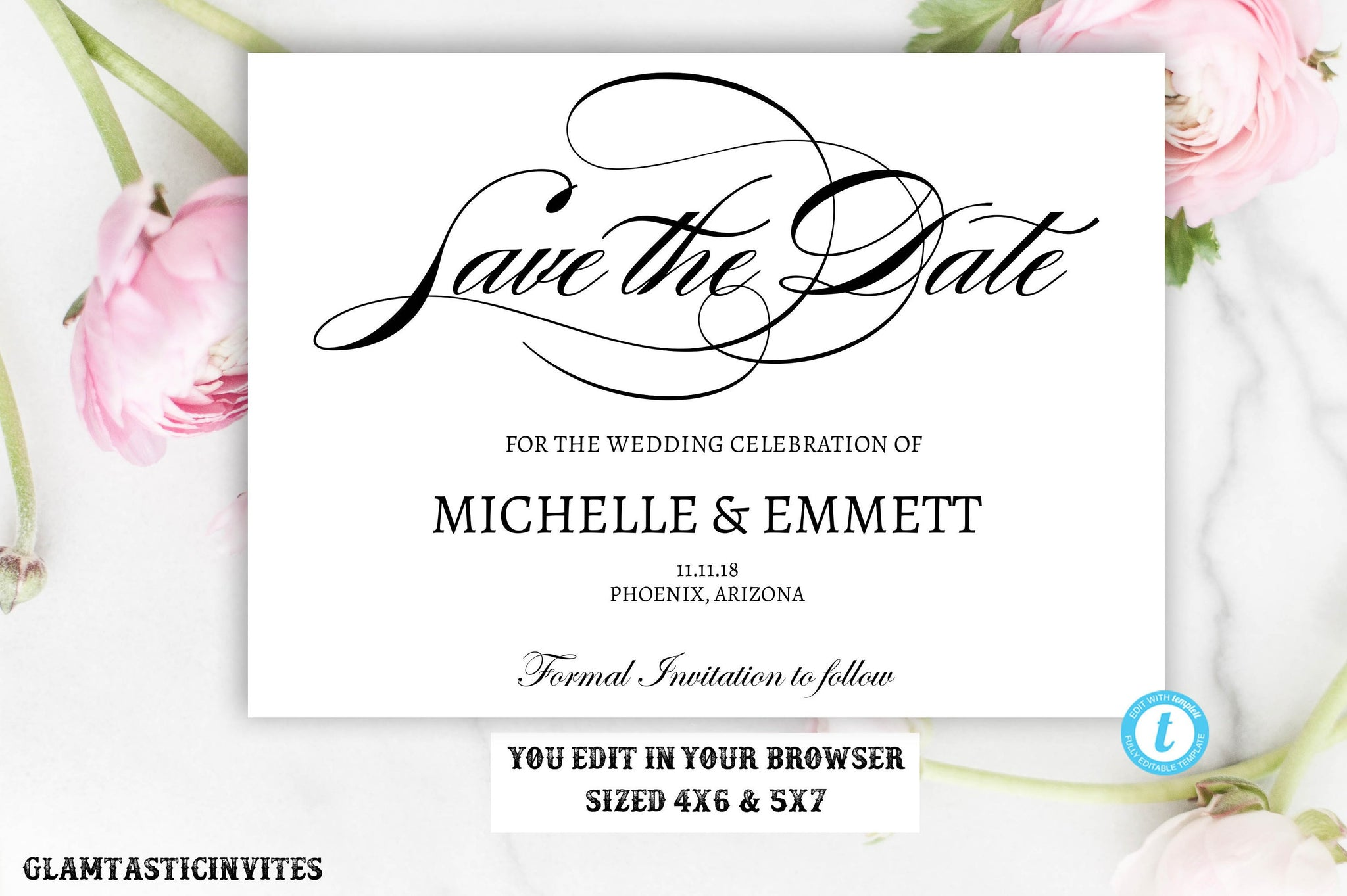 save the date card template elegant calligraphy script editable printable save the date save