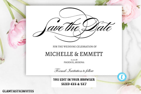 Save the Date Card Template Elegant Calligraphy Script Editable Printable, Save the Date, Save Date Card, Template, Simple, Modern, DIY Card