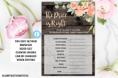 The Price is right Baby Shower Game Printable, Bridal Shower Games, Baby Shower Price is Right, Digital file, Bridal Shower Game,Instant