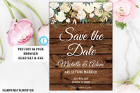 Rustic Floral White Rose Boho Save The Date Card Template Editable Printable Country Vintage, Floral, Rustic, Save the Date, Wedding, Invite