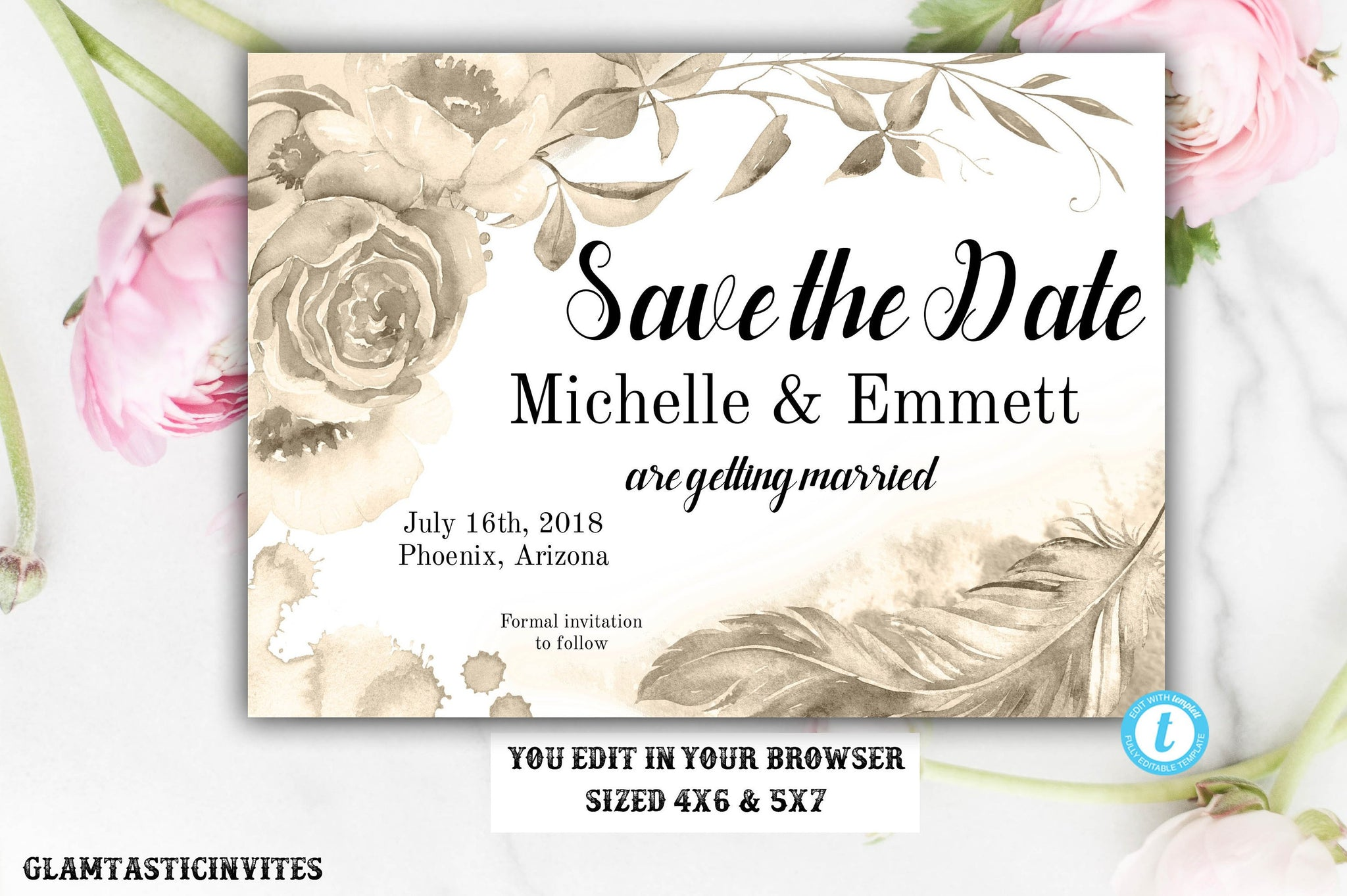 Gold Rose Watercolor Save the Date Card Template Editable Printable Boho Floral Flower, Save our Date, Save the Date, Template, DIY Wedding
