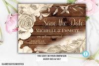 Rustic Boho Save the Date Card Template Watercolor Editable Printable Rose Gold Champagne Floral Flower Save our Date Feather DIY Country