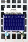 Royal Blue Silver Sweet Sixteen 16 Seating Chart Table Chart Template Princess Royal Editable Printable Birthday Shower Elegant DIY Seating