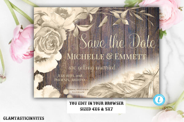 Rustic Boho Save the Date Card Template Gold Watercolor Editable Printable Rose Champagne Floral Flower Save our Date Feather DIY Country