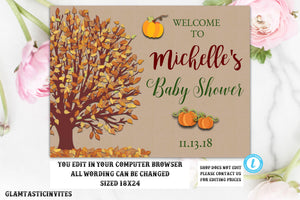 Pumpkin Fall Baby Shower Welcome Sign Kraft Rustic Gender Neutral Editable Printable Template, Baby Shower Welcome Sign, Rustic, Fall, DIY