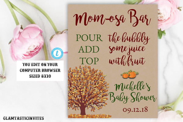 Momosa Kraft Rustic Fall Baby Shower Sign Template Editable Printable Boho Pumpkin Decor Leaves, Mom-osa Bar Sign, Kraft, Pumpkin, Fall, DIY