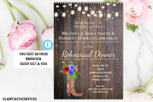 Rustic Boho Floral Burgundy Blue Rehearsal Dinner Invitation Invite Template Boot Country Western Vintage Flower Barnyard Outdoor, Rehearsal