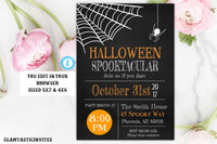 Halloween Party Invitation Template Spooktacular Chalkboard Spider Haunted House Adult Party Kids Party Editable Printable Electronic Invite