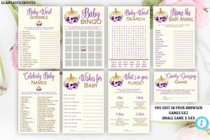 Fall Baby Shower Games, Editable Printable baby game, You Edit, Floral Pumpkin Games, Bingo, Animal Baby, Boho, Rustic, Purple, Girl Shower
