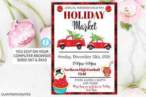Holiday Market Flyer, Christmas Market Flyer, PTO, PTA, Holiday Fundraiser, Christmas Flyer, Holiday Event Flyer, Invitation, Christmas, DIY