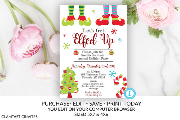 Let's get Elfed Up Invitation, Holiday Christmas Invitation, Editable Invitation Printable Invitation, Fun Holiday Invitation, Elf, Template