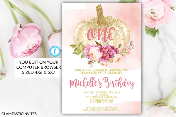 Pumpkin First Birthday Invitation, Editable Birthday Invitation, Blush Pink Magenta Floral, One, Girl, Baby First 1st Birthday Invitation