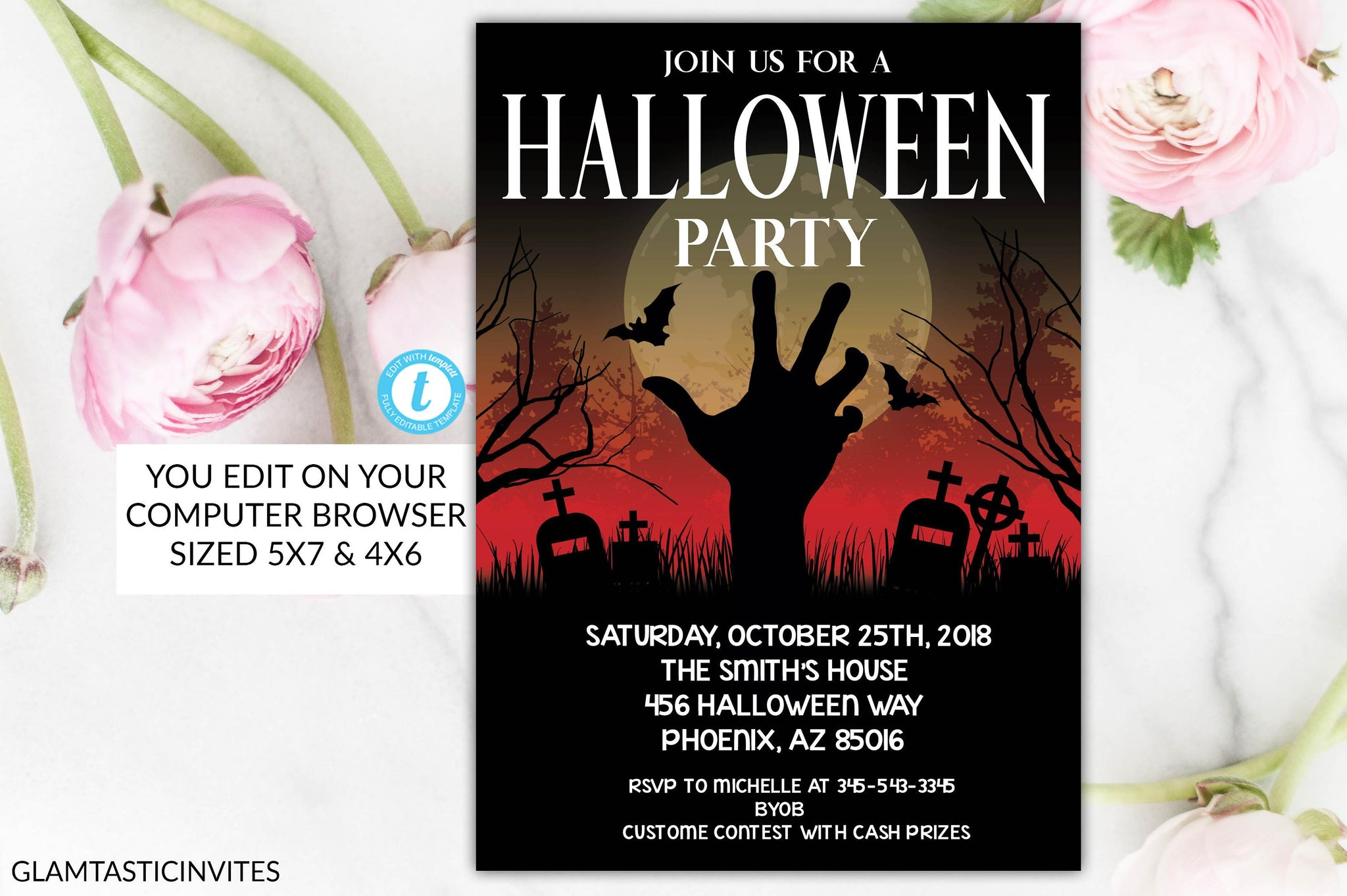 Spooky Halloween Party Invitation, Halloween Flyer, Halloween Invite ...