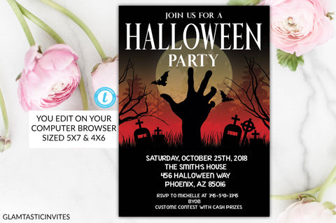 Spooky Halloween Party Invitation, Halloween Flyer, Halloween Invite, Editable Halloween Invitation, Halloween Party Invitation Template
