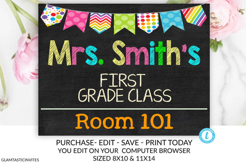 Teacher Door Sign Template, Teacher Name Sign, Classroom Decor, Editable, Teacher Sign, Personalized Teacher Sign, Sign, Classroom Sign, DIY