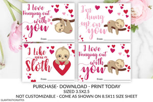 Valentine's Day Sloth Tags, Teacher, Kid Valentine, Sloth, I like you a Sloth, Valentine, Classroom Valentine, Instant Download, Be Mine