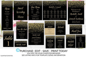 Black and Gold Wedding Invitation Package Template, Gold Glitter, Gold Wedding Invitation, Wedding Invitation Suite Template, Editable, Edit