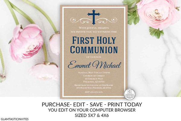 Navy Blue Kraft Rustic First Communion Invitation Boy Boy First Communion Invitation First Communion Invitation Printable You Edit, DIY Edit