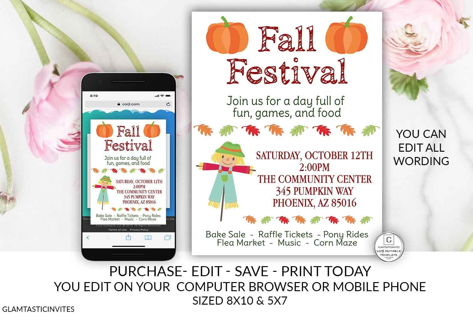 Fall Festival Flyer Template Invitation Editable Printable Thanksgiving Musical Event Corn Maze Fall Autumn Church Festival Bake Sale DIY
