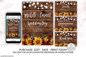 Sunflower Burgundy Merlot Rustic Wedding Invitation Template Set Instant Download Editable Printable You Edit Set, Country Vintage Sunflower