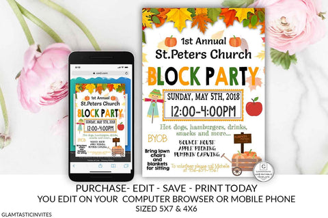 Fall Festival Flyer, Block Party Invitation, Church Festival, Fall Harvest, PTO, PTA, School Event Flyer, Halloween Invitation, Community