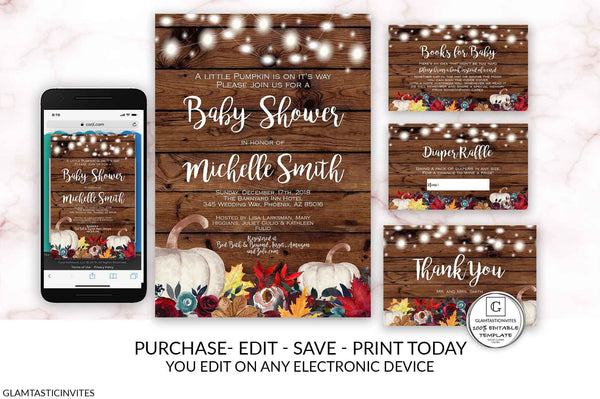 Editable Pumpkin Baby Shower Invitation Set Template Shower Printable Editable Online Electronic Cheap Textable Burgundy Fall Burnt Orange