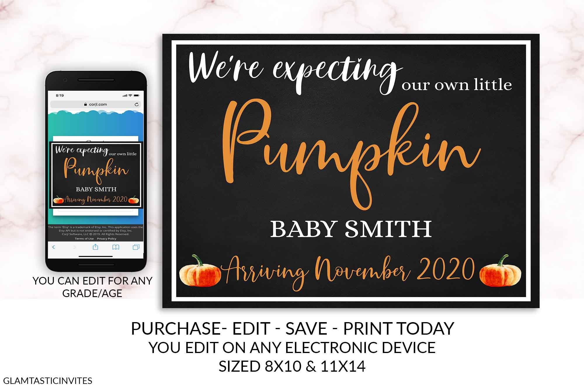 Editable Pumpkin Thanksgiving Pregnancy Announcement Sign Chalkboard Template Cheap DIY Photo Prop Pregnancy New Baby Arriving Printable