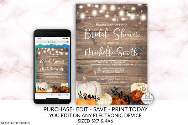 Halloween Pumpkin Fall Rustic Bridal Shower Invitation Template Instant Download Editable Printable You Edit Thanksgiving Black Orange Rose