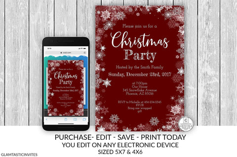 Editable Red Christmas Party Invitation Template Holiday Company Party Country Winter Online Textable Electronic Email Snowflake Burgundy