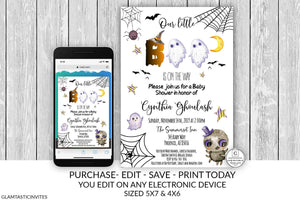 Halloween Baby Shower Invitation Editable Printable A little Boo Ghost Gender Neutral Cheap DIY Online Textable Smartphone Email Baby Invite