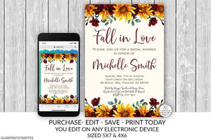 Rustic Pumpkin Burgundy Sunflower Fall in Love Bridal Shower Invitation Template Instant Download Editable Printable Online Textable Email
